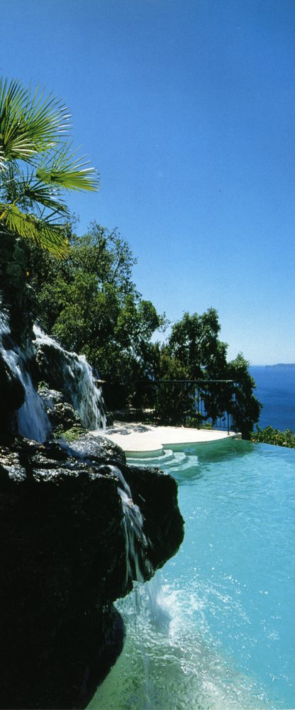 infinity pool with waterfall